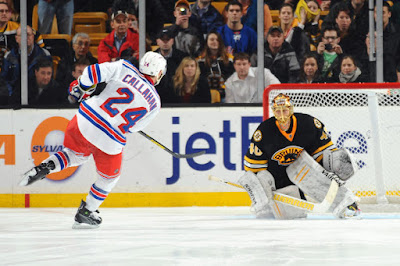 Rangers captain Ryan Callahan scores in the shootout against Bruins goalie Tuukka Rask