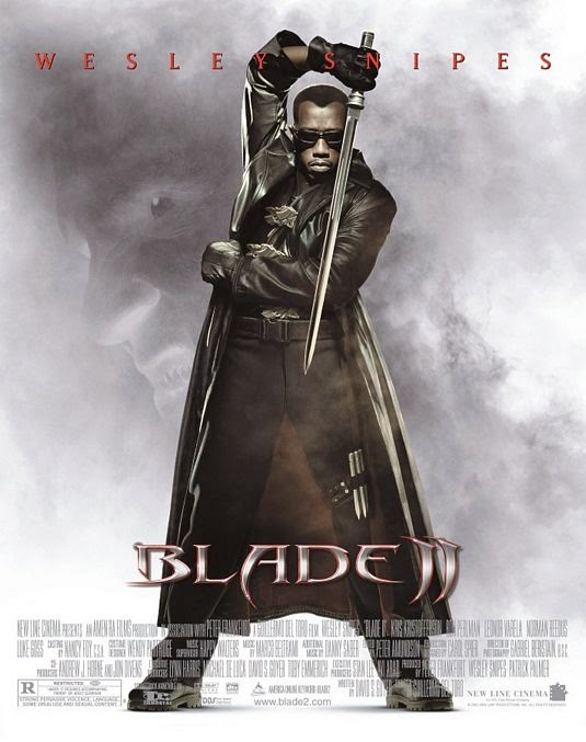 Poster Of Blade II (2002) Full Movie Hindi Dubbed Free Download Watch Online At Alldownloads4u.Com