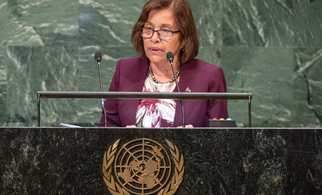 President Hilda Heine of the Republic of the Marshall Islands addresses the seventy-third session of the United Nations General Assembly, 25 September 2018. Photo: Cia Pak / UN Photo