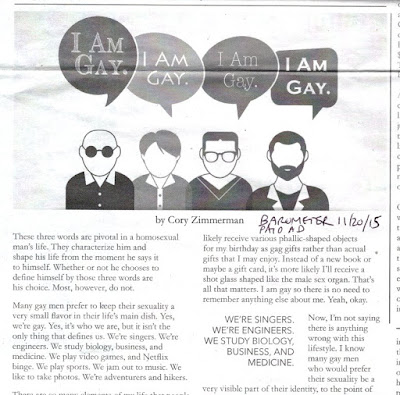 Cory Zimmerman 'I am gay' essay paid insert to Barometer Nov. 20, 2015