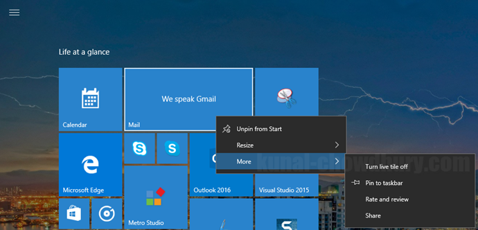 2. Windows 10 Start Menu Context Menu - More Options (www.kunal-chowdhury.com)