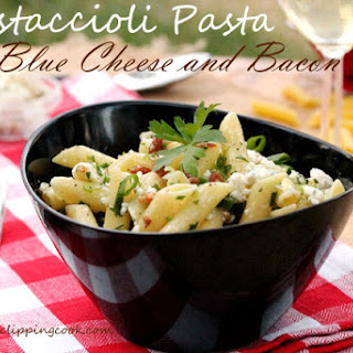 Mostaccioli Pasta with Blue Cheese and Bacon.
