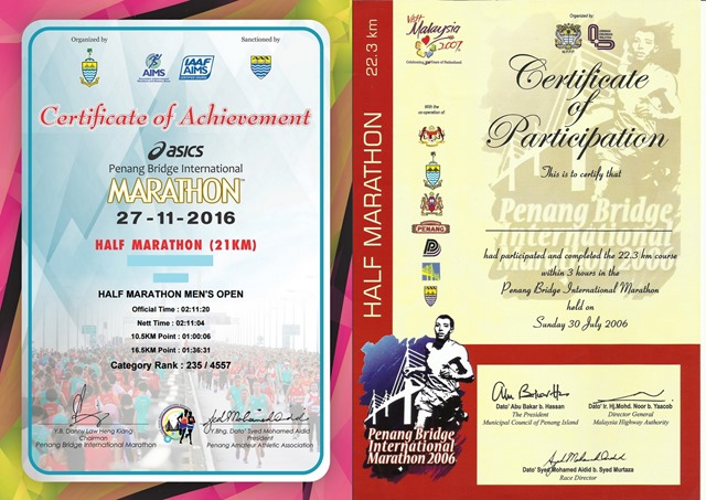Penang Bridge International Marathon Certificate 2006 vs 2016