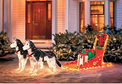 Lighted Christmas Sleigh with 2 Huskies - Improvements