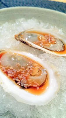Prince Edward Oysters and mignonette first course at Nodoguro Hard Core Sushi Dinner
