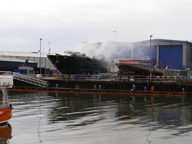 7 May 2011 – the aftermath of the fire onboard Sunseeker yacht, New Quay, Poole