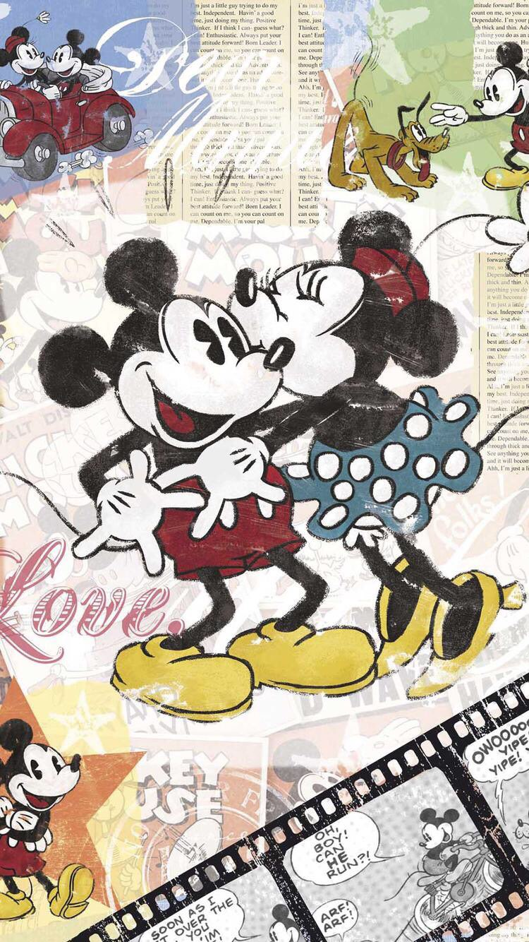 Iphone And Android Wallpapers Vintage Mickey And Minnie Wallpaper For Iphone And Android