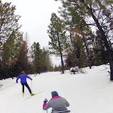 Liz Ann powers up the Seeley Lake Ski Trail hills.