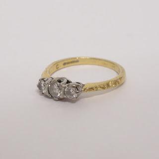 18K Gold, Platinum & Diamond Ring