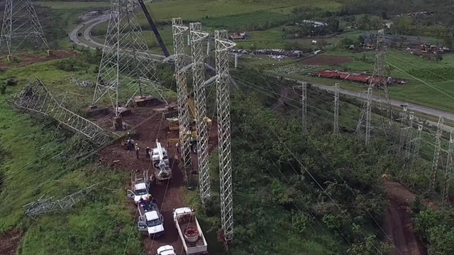 Power transmission towers under repair in Puerto Rico, after Hurricane Maria. Photo: CBS News
