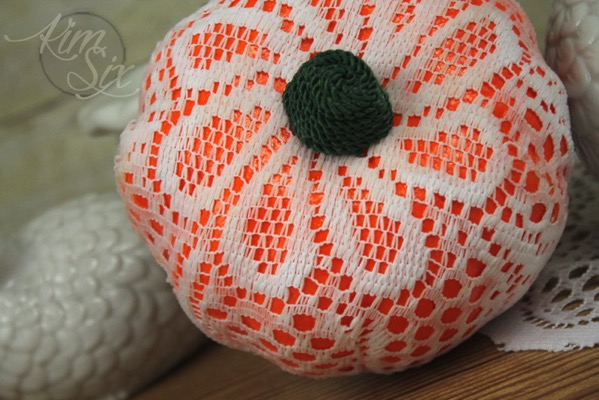 Lace wrapped dollar store pumpkin