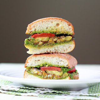 Grilled Summer Vegetable Sandwiches with Pesto.