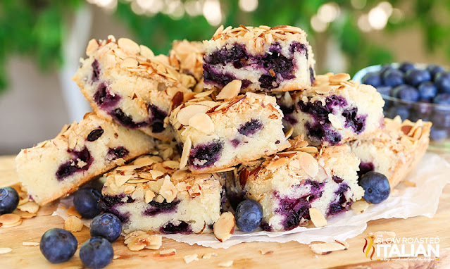 blueberry breakfast cake in a pile