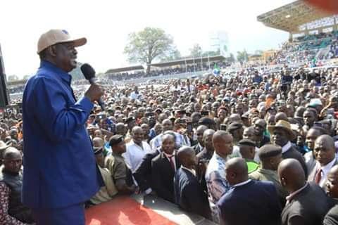 Raila Odinga at Bukhungu stadium. PHOTO   NMG