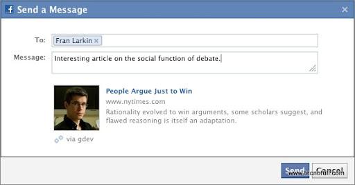 Dialogo Enviar de facebook