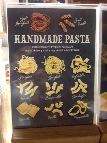 A menu of handmade pasta featuring ravioli, fusilli and penne