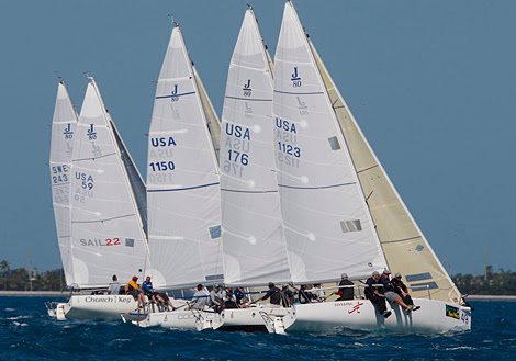 J/80 one-design sailboats- sailing off starting line at Key West, FL