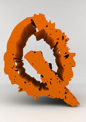 lettre 3D chiffron de craie orange - Q - images libres de droit
