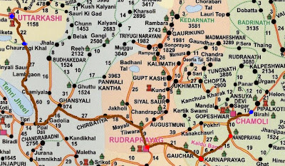 Uttarkashi - Birahi travel route map, Char Dham - Himalayas