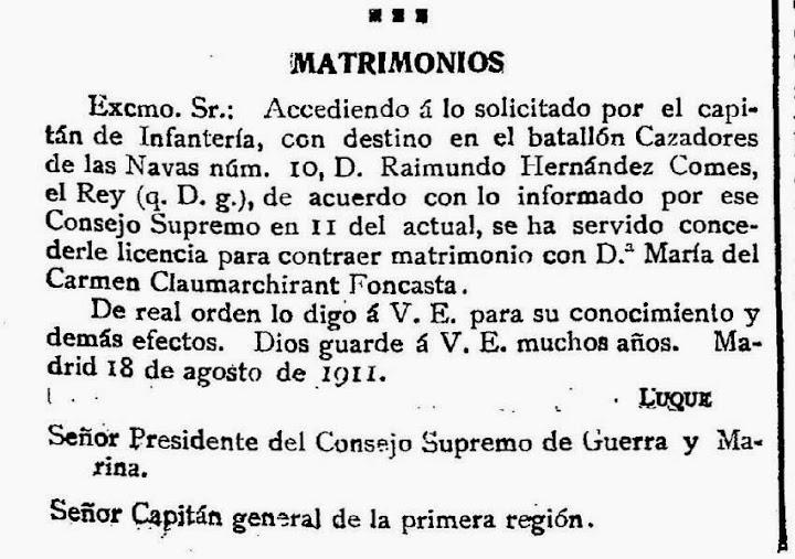 Claumarchirant Foncasta en el Diario Oficial del Ministerio de la Guerra. (19 agosto 1911)