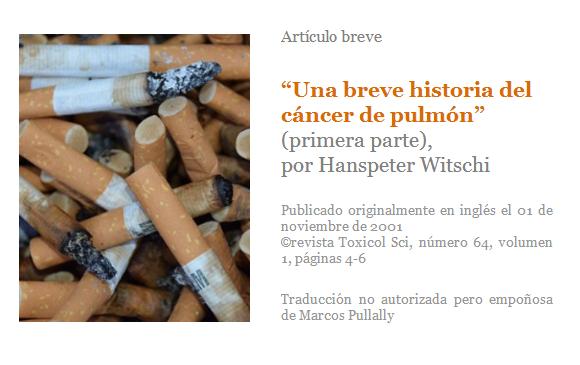 Cáncer de pulmón, historia, Hanspeter Witschi