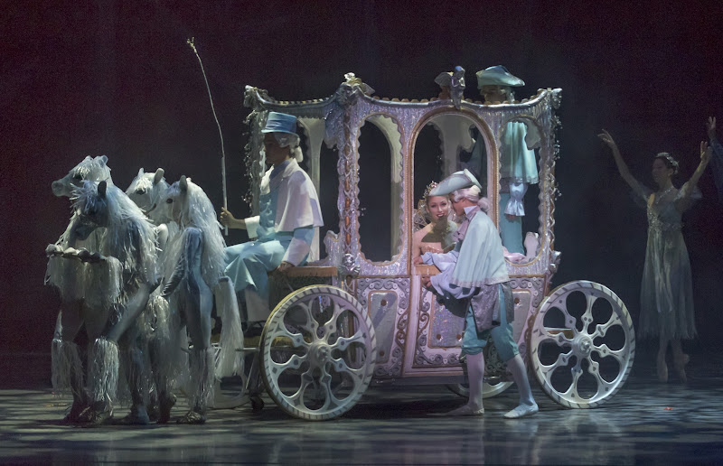 "Photo: Ballet SJ Principal Alexsandra Meijer as Cinderella arrives at the Ball in the ""Pumpkin"" Coach. From Ballet San Jose's production of Ben Stevenson's 'Cinderella.' Photo copyright Robert Shomler (2012)."