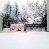 Памятник погибшим воинам. Утром он был совершенно чистым.