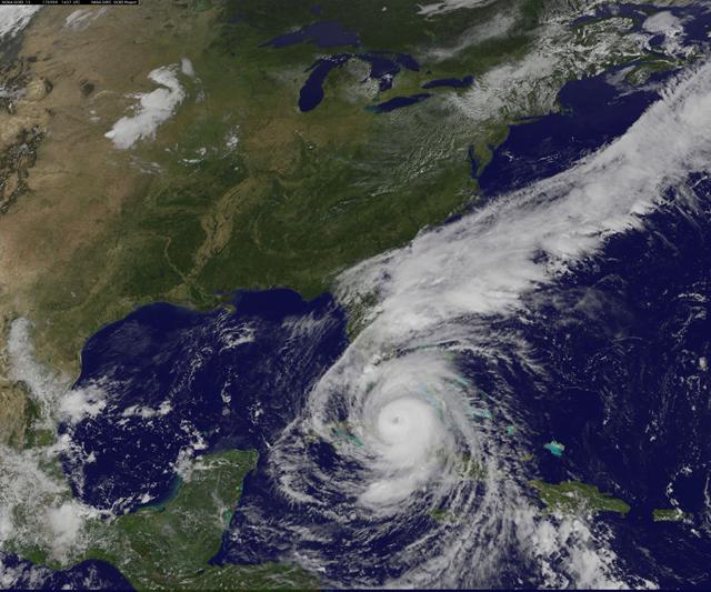 Hurricane Irma viewed from the GOES-16 satellite, just before striking Florida, 9 September 2017. Photo: NASA / NOAA