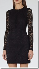 Reiss black long sleeved lace dress
