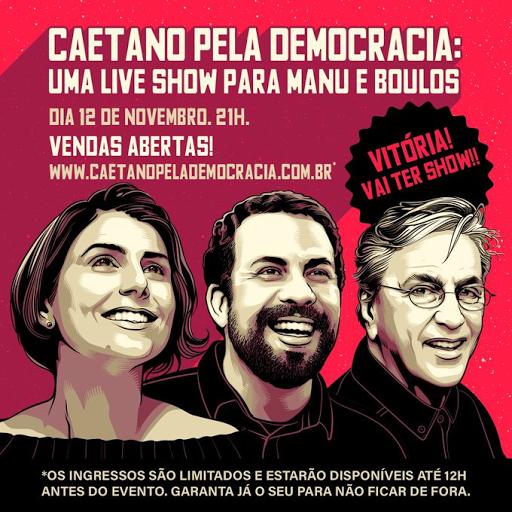 TSE libera Live de Caetano Veloso para Campanha da Prefeiturável Manoela D'Ávila