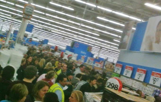 Photo: Really? This is what the crowds were like near the back of the store. Really impossible to pass through.