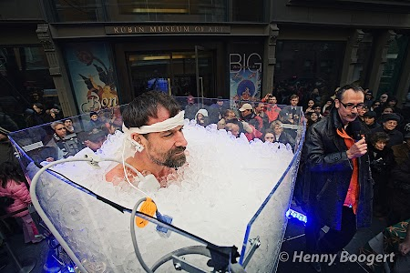 Wim Hof submerged in ice at an event in New York.