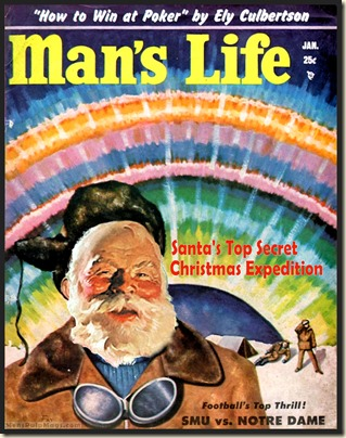 MAN'S LIFE, Jan 1954 Xmas spoof, John Fay art REV
