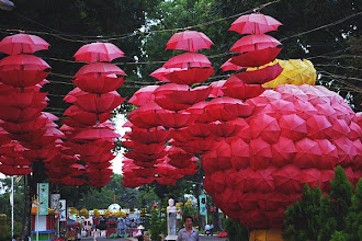 Photo: Umbrellas hanging in the street of Ho Chi Minh city