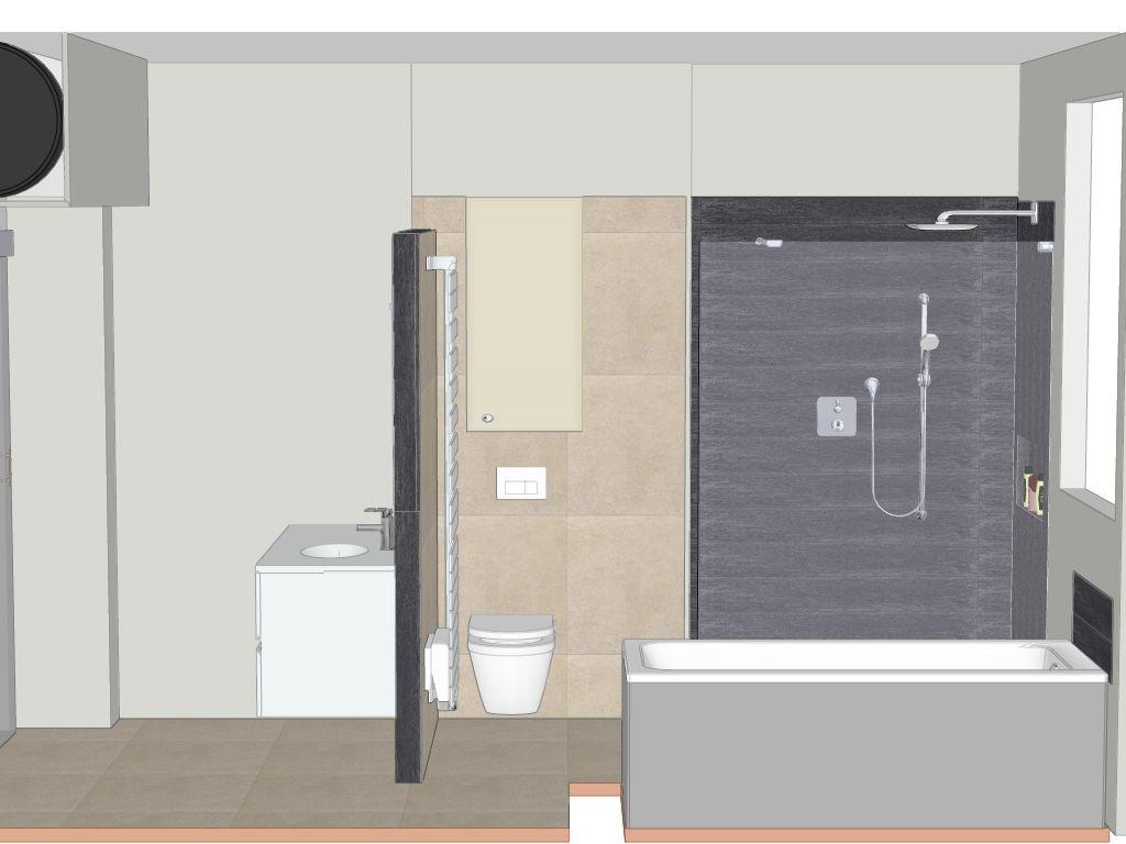 R novation d 39 une salle de bain avec douche bain cumulus for Seche serviette sous fenetre