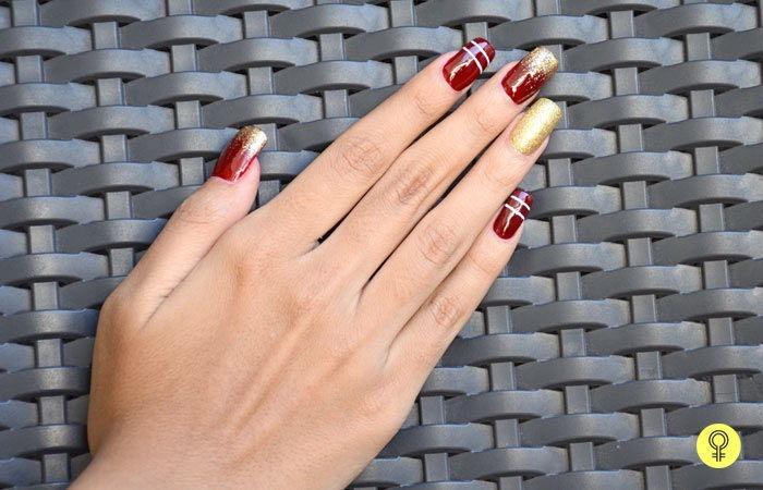 Glitzy Maroon Nail Art Design