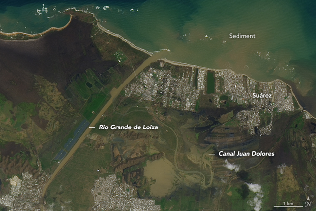 On 26 September 2017, the Operational Land Imager (OLI) on the Landsat 8 satellite captured some of the first natural-color satellite images of Puerto Rico after Hurricane Maria. Cloud cover is common in the tropics and has been particularly bad in the days since the storm, so researchers have been unable to see much from orbit. This image shows the Rio Grande de Loíza, the island's largest river by volume, where it meets the Atlantic Ocean several miles east of San Juan and west of Suárez. Photo: Joshua Stevens / NASA Earth Observatory