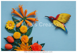 Quilled sunbird and flowers