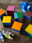 I painted several of the sides of the wooden cubes the color of the NYC subway lines.