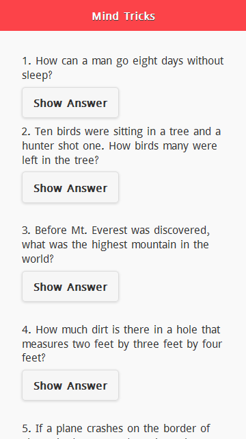 Mind Tricks Questions Screenshot