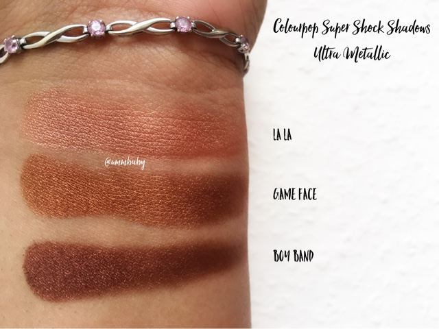 colourpop super shock shadows ultra mettalic swatches medium skin nc40 swatch la la vs game face vs boy band