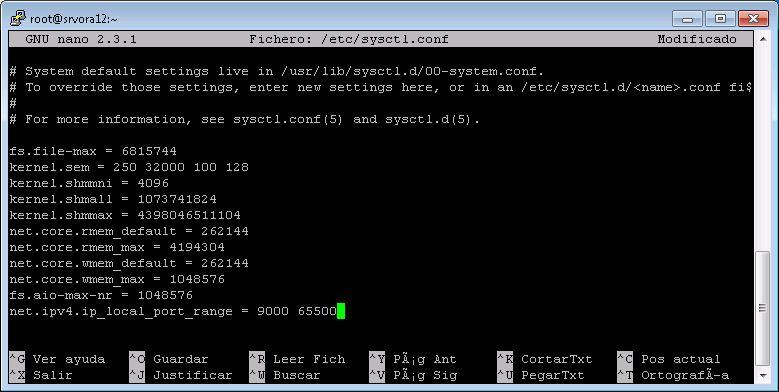 Configurar parámetros del kernel para Oracle 12c en Linux CentOS 7