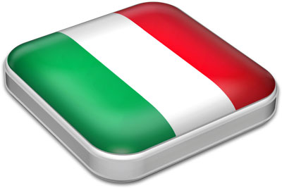 Flag of Italy with metallic square frame