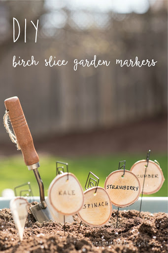 DIY Birch Slice Garden Markers