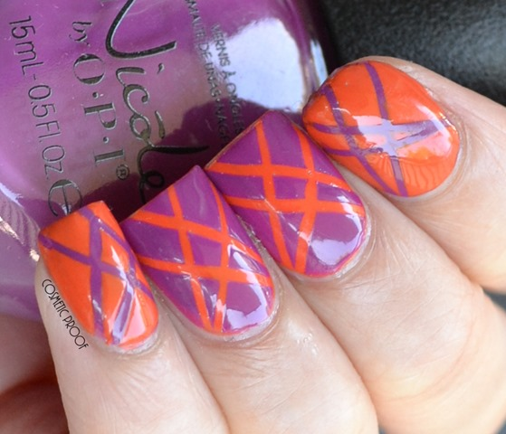 Orange and Purple Tape Manicure Nail Art