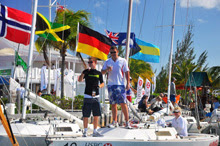 J/22 sailors enjoying the international camaraderie of sailing in the islands