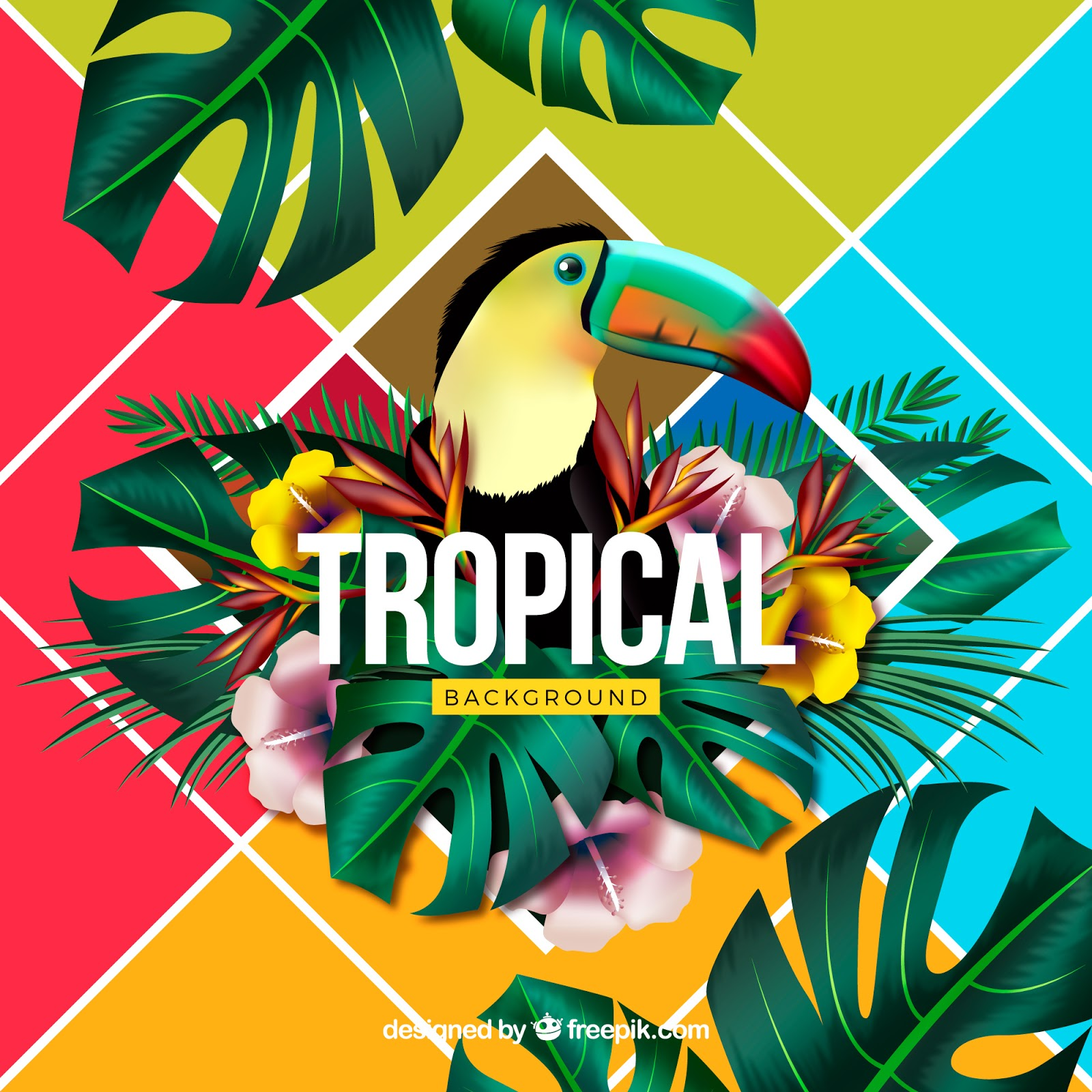 Colorful Tropical Background With Realistic Design Free Download Vector CDR, AI, EPS and PNG Formats