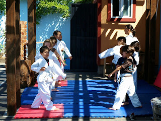 Karate group first day lower punch