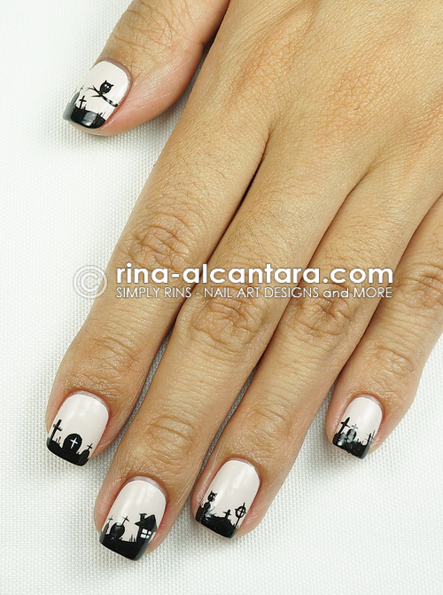 Graveyard Nail Art Design for Halloween