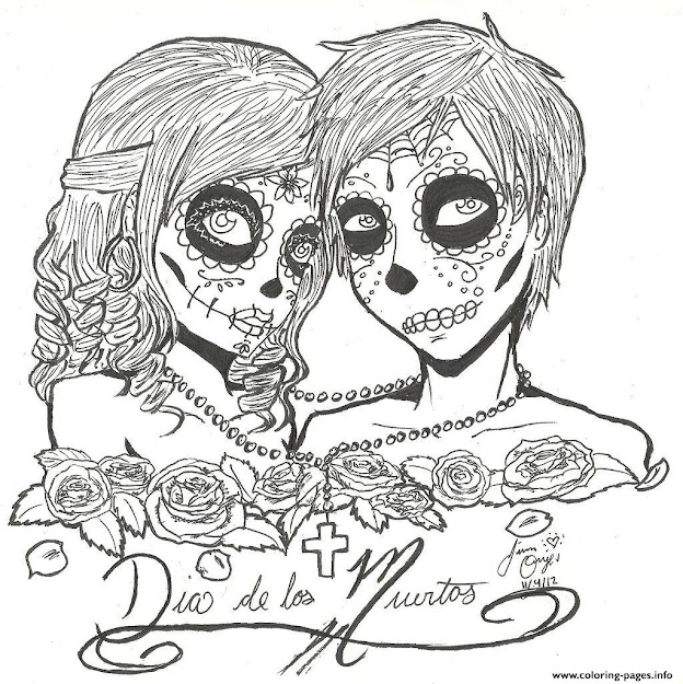 Print Skull Sugar Couples Love Coloring Pages